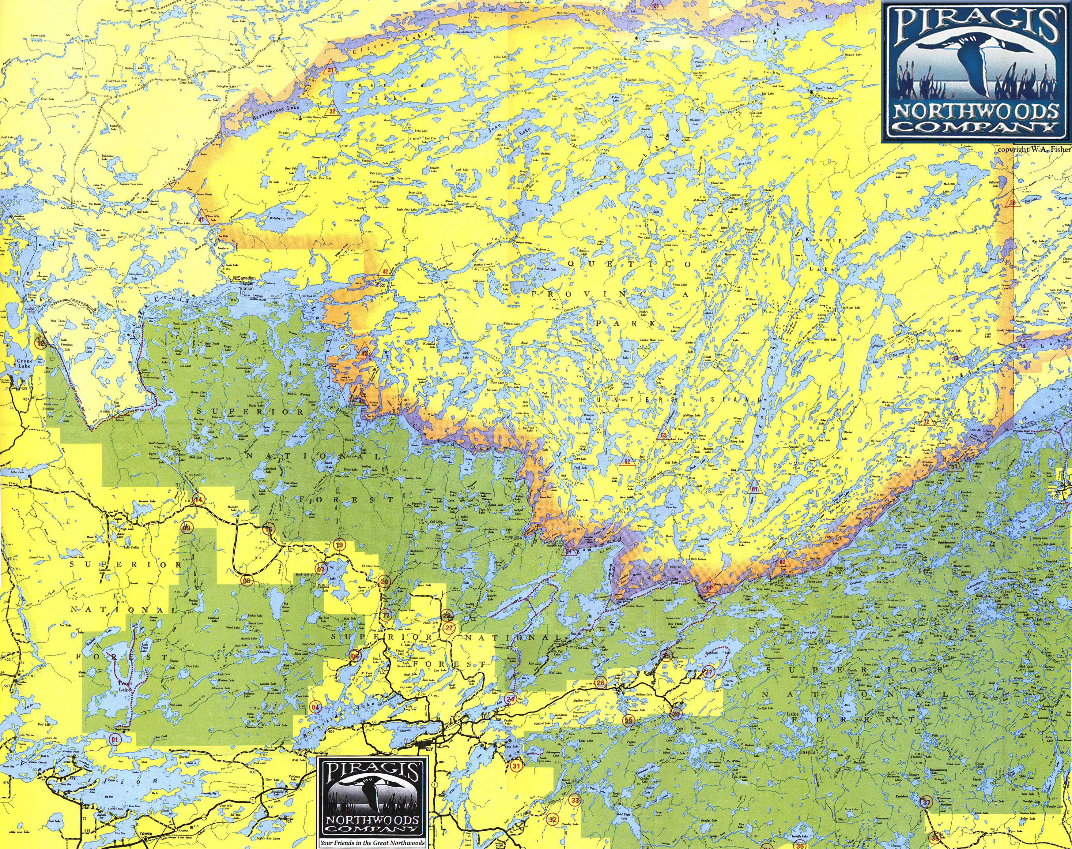 Boundary Waters Map Canoe Trip Route Planning Map Ely Mn
